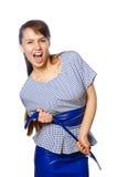 在白色背景隔绝的一名年轻滑稽的妇女 免版税图库摄影