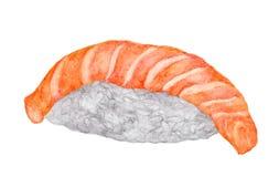 在白色背景隔绝的三文鱼寿司,与裁减路线,水彩日本人食物 库存照片