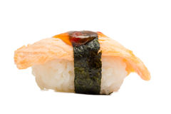 在白色背景隔绝的三文鱼寿司nigiri 免版税库存照片
