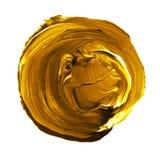 在白色背景隔绝的丙烯酸酯的圈子 染黄,文本的金圆的水彩形状 另外设计的元素 免版税库存照片