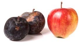 在白色背景隔绝的两个腐烂和一个好苹果 免版税库存照片