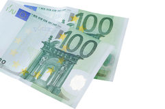 在白色背景隔绝的两张欧洲钞票 名词性的词100 EUR 图库摄影
