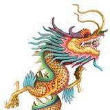 在白色背景隔绝的中国寺庙的中国龙雕象 免版税库存图片