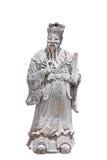 在白色背景隔绝的中国石雕塑 库存照片