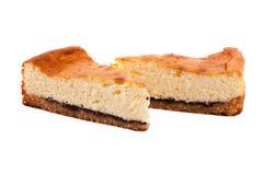 在白色背景隔绝的乳酪蛋糕 库存图片
