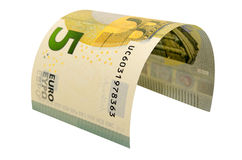 在白色背景隔绝的五欧元钞票 免版税图库摄影