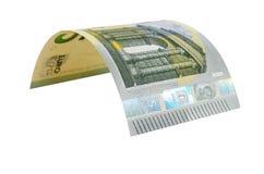 在白色背景隔绝的五欧元钞票 免版税库存照片