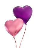 在白色背景隔绝的五颜六色的心脏气球 免版税库存照片
