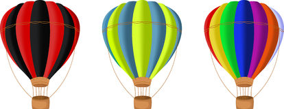 在白色背景隔绝的五颜六色的热空气气球 库存图片