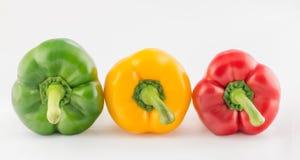 在白色背景隔绝的五颜六色的胡椒 库存图片
