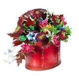 在白色背景隔绝的五颜六色的花花束 免版税库存图片