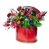 在白色背景隔绝的五颜六色的花花束 免版税库存照片