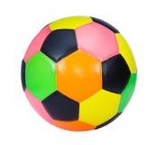 在白色背景隔绝的五颜六色的足球 库存照片