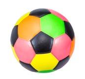 在白色背景隔绝的五颜六色的足球 免版税库存照片