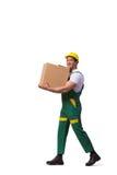 在白色背景隔绝的人移动的箱子 库存照片