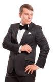 在白色背景隔绝的优等的绅士 免版税图库摄影