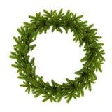 在白色背景隔绝的传统绿色圣诞节花圈 库存照片