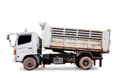 在白色背景隔绝的倾销者卡车,与裁减路线 免版税图库摄影