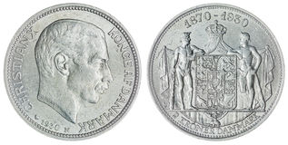 2在白色背景隔绝的克罗钠1930硬币,丹麦 免版税库存图片