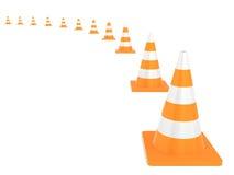在白色背景隔绝的公路交通锥体 向量例证
