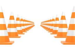 在白色背景隔绝的公路交通锥体 免版税库存图片