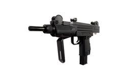 在白色背景隔绝的冲锋枪,气动力学的武器 免版税库存图片