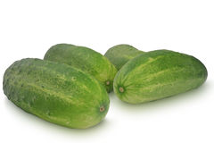 在白色背景隔绝的几个黄瓜 库存照片