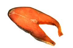 在白色背景隔绝的切片冷的熏制的桃红色三文鱼 库存照片