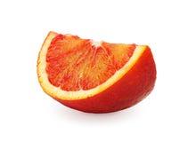 在白色背景隔绝的切片红色桔子 免版税库存照片