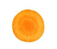 在白色背景隔绝的切片红萝卜 免版税库存照片