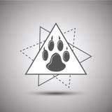 在白色背景隔绝的动物脚印商标 免版税库存图片