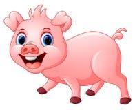 在白色背景隔绝的动画片愉快的猪 免版税库存照片