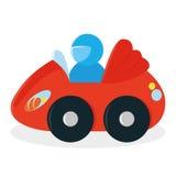 在白色背景隔绝的动画片红色汽车玩具 库存图片