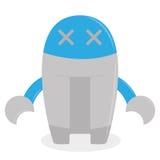 在白色背景隔绝的动画片蓝色机器人 向量例证