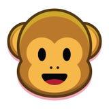 在白色背景隔绝的动画片逗人喜爱的猴子面孔 免版税库存图片