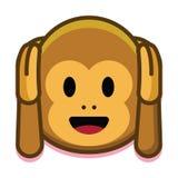 在白色背景隔绝的动画片逗人喜爱的猴子面孔 免版税库存照片