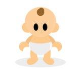 在白色背景隔绝的动画片逗人喜爱的婴孩 皇族释放例证