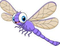 在白色背景隔绝的动画片滑稽的蜻蜓
