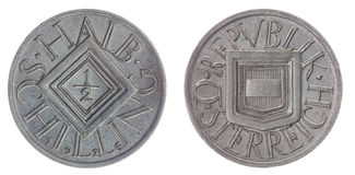 在白色背景隔绝的半希林1926硬币,奥地利 库存照片