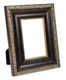 在白色背景隔绝的古色古香的木照片框架 免版税库存照片