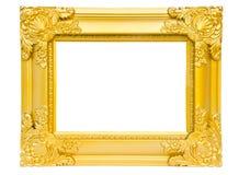 在白色背景隔绝的古色古香的金框架 库存图片