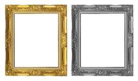 在白色背景隔绝的古色古香的金黄和灰色框架,裁减路线 免版税图库摄影