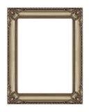 在白色背景隔绝的古色古香的金黄框架,与clippin 库存图片