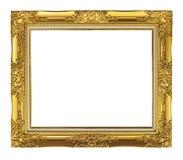 在白色背景隔绝的古色古香的金黄框架,裁减路线 免版税库存图片