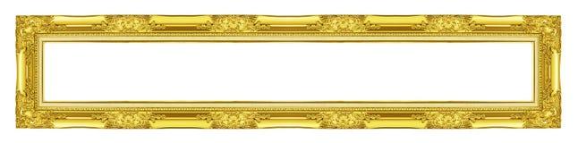 在白色背景隔绝的古色古香的金黄框架,裁减路线 库存图片