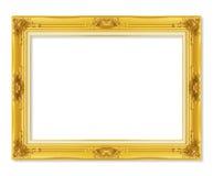 在白色背景隔绝的古色古香的金黄框架 免版税图库摄影