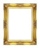 在白色背景隔绝的古色古香的金黄框架 免版税库存照片
