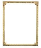 在白色背景隔绝的古色古香的金黄框架 免版税库存图片
