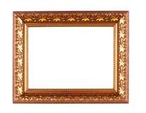 在白色背景隔绝的古色古香的金黄框架 库存照片