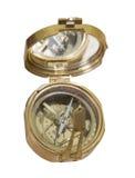 古铜色金属老指南针 库存图片